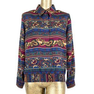 80s Abstract Paisley Collared Button Up Blouse